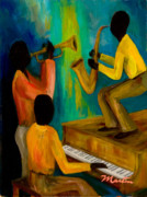 African American Framed Prints - Little Jazz Trio I Framed Print by Larry Martin