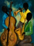Trio Painting Posters - Little Jazz Trio III Poster by Larry Martin