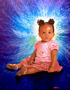 Toddler Portrait Paintings - Little lady by Alan Schwartz