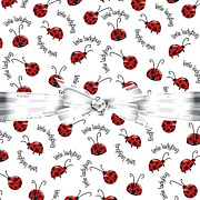 Red Ribbon Digital Art - Little Ladybug Treats by DMiller