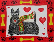 Scottie Painting Posters - Little Lassie Poster by Diane Pape