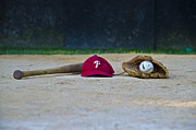 Baseball Cap Prints - Little League Dreams Print by Bill Cannon