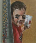 National League Drawings Metal Prints - Little League Logan Metal Print by Logan Cobb
