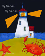 Quirky Painting Posters - Little Lighthouse By The Sea Poster by Glenna McRae