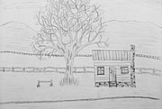 Cabin Drawings - Little Log Cabin by Lori Ball