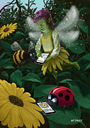 Fantasy Digital Art Prints - Little Magic Fairy Forest Connected On To The Internet Print by Martin Davey