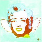 Angel Wings Paintings - Little Marilyn Baby Blue by Katya Tham