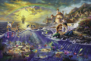 Disney Framed Prints - Little Mermaid Framed Print by Thomas Kinkade