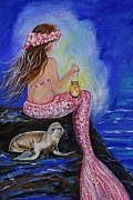 Little Mermaid Paintings - Little Mermaids Buddy by Leslie Allen