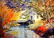 Sun Rays Painting Prints - Little Mill Print by Marilyn Smith