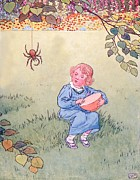 Grass Drawings Framed Prints - Little Miss Muffet Framed Print by Leonard Leslie Brooke