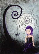 Halloween Scene Paintings - Little Miss Muffet by Oddball Art Co by Lizzy Love