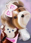Puppy Mixed Media - Little Monkey by Catia Cho