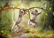 Spider Digital Art - Little Monkeys by Trudi Simmonds