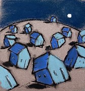 Houses Pastels Posters - Little Moonlight Poster by Danyl Cook
