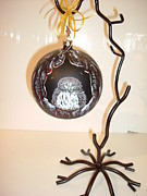 Holiday Glass Art - Little Owl Ornament by Jennifer Lake