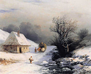 Snow Scene Digital Art Posters - Little Ox Cart Poster by Ivan Aivazovsky