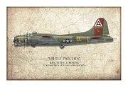 American Aviation Prints - Little Patches B-17 Flying Fortress - Map Background Print by Craig Tinder