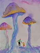 Blue Mushrooms Painting Posters - Little People Poster by Beverley Harper Tinsley