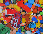 Toy Pastels Posters - Little Peoples Poster by Joanne Grant