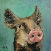 Piglet Paintings - Little Piglet by Jindra Noewi