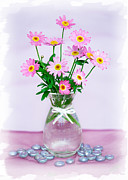 Pink Flower Prints Prints - Little Pink Flowers in a Vase Print by Natalie Kinnear