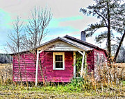 Abandoned Houses Digital Art Prints - Little Pink Houses Print by Victor Montgomery