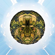 Round Framed Prints - Little planet Englich countryside Framed Print by Jane Rix