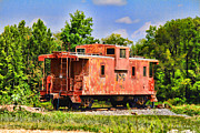 Caboose Digital Art Prints - Little Red Antique Caboose Print by Bonnie Willis