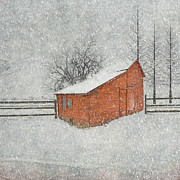 Winter Storm Framed Prints - Little Red Barn Framed Print by Juli Scalzi