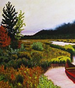 Canoe Painting Posters - Little Red Canoe In The Fog Poster by John Lasco