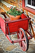 Little Cabin Photos - Little Red Cart - No.9329 by Joe Finney