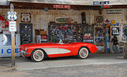 1957 Corvette Posters - Little Red Corvette Route 66 Poster by Bob Christopher