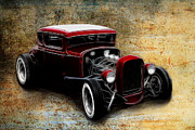 Ford Lowrider Posters - Little Red Coupe Poster by Steve McKinzie