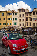 Italian Restaurant Posters - Little Red Fiat Poster by Inge Johnsson