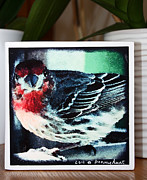 Wood Art Block Originals - Little Red Finch Photo Block by Penny Hunt