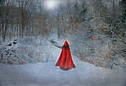 Snow-covered Landscape Digital Art Posters - Little Red Girl Poster by Mary Timman