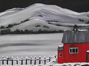 Snow Tree Prints Prints - Little Red Houseboat Print by Beverly Livingstone