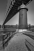 Seasons Prints - Little Red Ligthouse Under Great Grey Bridge BW Print by Susan Candelario
