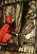 Cap Drawings Posters - Little Red Riding Hood Poster by Arthur Rackham