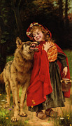 Rhyme Framed Prints - Little Red Riding Hood Framed Print by Gabriel Joseph Marie Augustin Ferrier