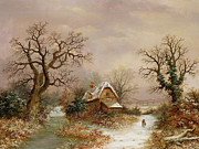Red Riding Hood Paintings - Little Red Riding Hood in the Snow by Charles Leaver