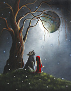 Cloak Painting Framed Prints - Little Red Riding Hood NIGHT WITH THE LONE WOLF by Shawna Erback Framed Print by Shawna Erback