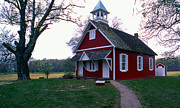 One Room Schoolhouse Prints - Little Red Schoolhouse Print by Skip Willits