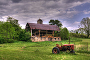 Dilapidated Digital Art - Little Red Tractor by David Simons