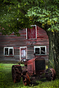 Farmhouses Photos - Little Red Tractor by Debra and Dave Vanderlaan