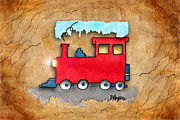 Watercolor  Framed Mixed Media - Little Red Train by Paula Ayers