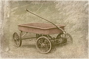 Vintage Wagon Framed Prints - Little Red Wagon Framed Print by Angie Vogel