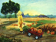 Indiana Autumn Posters - Little Red Wagon in the Pumpkin Patch Poster by Gedda Starlin