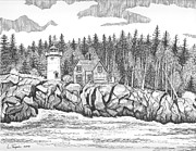 Maine Lighthouses Drawings Posters - Little River Lighthouse Poster by Lawrence Tripoli